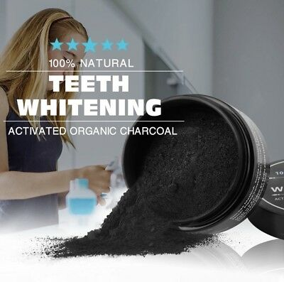 """""""teeth Whitening"""" Charcoal Charbon Actif 100% Naturel Poudre Blanchiment Dents"""