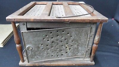 RARE EXTRA LARGE ANTIQUE FOOT WARMER  PRESSED TIN AND WOOD Ca 1950
