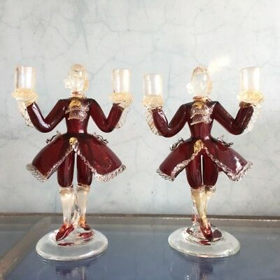 Pair of Murano Glass figural candlesticks, ruby, mid 20th century