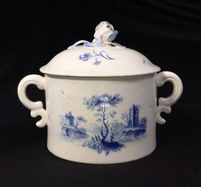 Chantilly covered pot with scenic panel in blue, twin handles, c. 1760