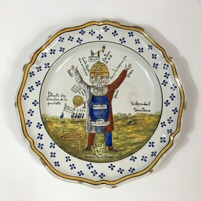 French faience political charger, dated 1819