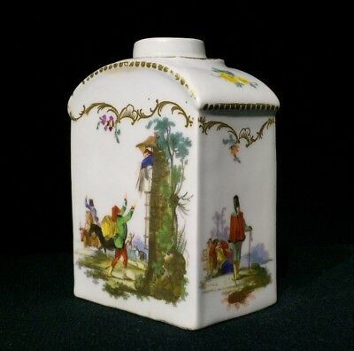 Meissen tea canister painted with military scene, c. 1780