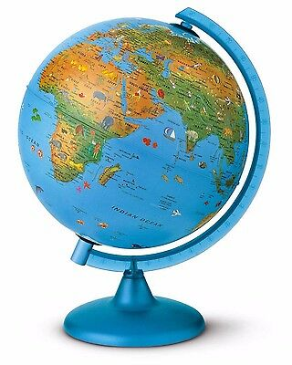 Globe 25cm 'Arca' Childrens Light-Up SHOWS ANIMALS FROM AROUND THE WORLD Blue
