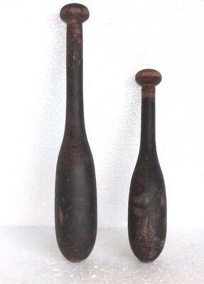 2 Pc Vintage Wooden Hand Carved Indian Washing Cloth Bat/Wand Collectible W55