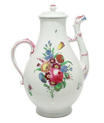 Doccia coffee pot with birds head spout, flower painted, c. 1765