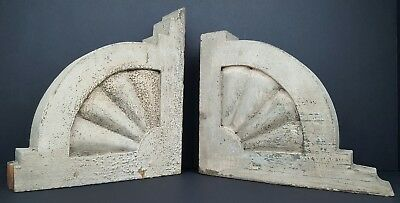 (2) Vintage Architectural Salvaged Painted Wood Corbel Brackets Trim Reclaimed