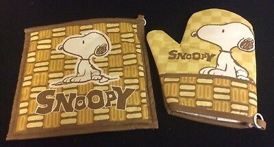 Peanuts Snoopy Charlie Brown Oven Mitts With matching Pot Holder New
