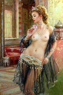 Wall art HD Print Belly dancer nude oil painting printed on canvas L1562