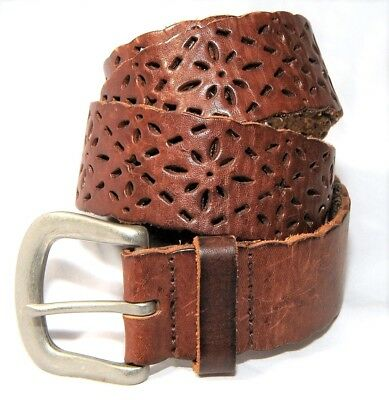 """Buckle Womens Belt Brown Leather Cut Out Metal Buckle Sz M 39"""" Total length"""