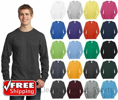 Mens Long Sleeve T-Shirt Cotton Comfort Soft Blank Color Tee Plain Casual PC54LS