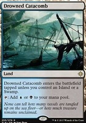 NEW MINT MTG Ixalan  - Drowned Catacomb - Magic The Gathering w/TOP LOADER