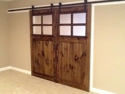 FREE TRACK! Vintage French Farmhouse Sliding Barn Door with Glass Solid Wood