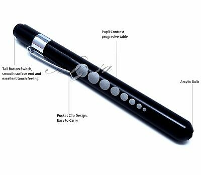 BLACK Nurse Penlight Medical LED Pen light Reusable for Doctors with Pupil Gauge