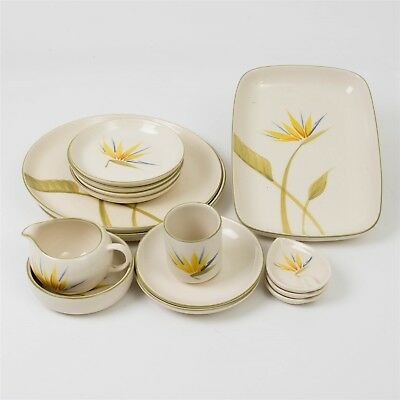 15 Piece Lot WINFIELD Bird of Paradise China California Pottery Handcrafted Dish