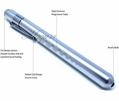SIILVER Nurse Penlight Medical LED Pen light Reusable for Doctors w/ Pupil Gauge