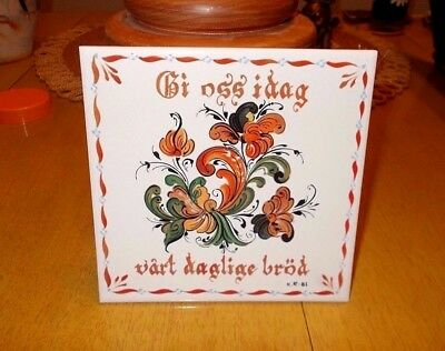Vtg Hand Painted Berquist Imports Norwegian Tile Artist Signed Give us This Day