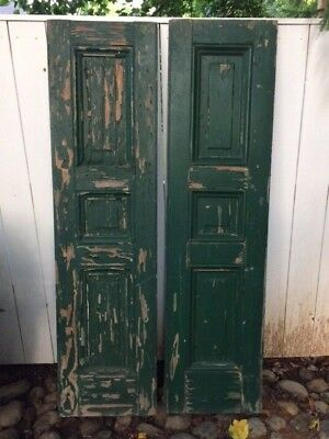 "Pair Vintage 1920s 3-Panel Georgian-style Shutters 16""x63"" Collector Green Paint"