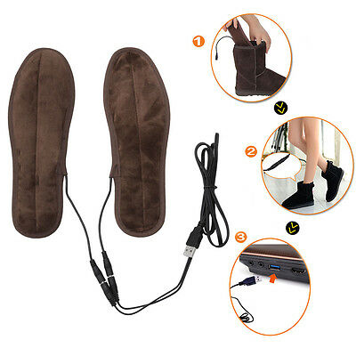 Heated Shoe Insoles USB Electric Powered Film Heater Feet Warm Socks Pads Foot