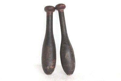 2 Pc Vintage Wooden Hand Carved Indian Washing Cloth Bat/Wand Collectible W57