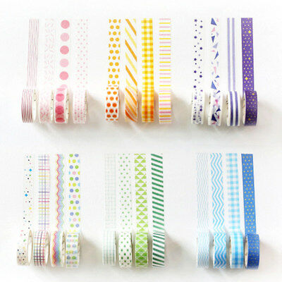 Colorful DIY Washi Tape Paper Decorative Masking Scrapbook Crafts Sticker + Box