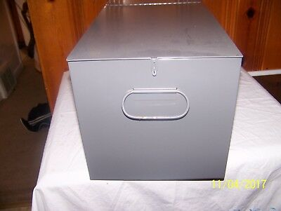 LARGE SAFE DEPOSIT BOX METAL DRAWER SAFETY BANK TRAY CASE VINTAGE 10x9.3/4x21.5
