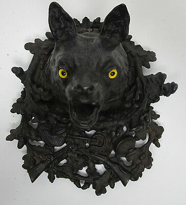Antique Victorian 19th C German Cast Iron Figural Fox Head Inkwell Ink Well