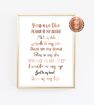 Quote Print / Copper foil poster / Love Wall decor / you are the apple to my pie