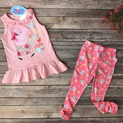 Peppa Pig girl Kids Clothes Top & Bottom Set floral pink leggings New 5T