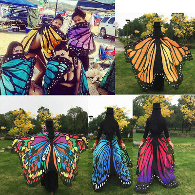 Soft Fabric Butterfly Wings Shawl Fairy Ladies Nymph Pixie Costume Accessory US