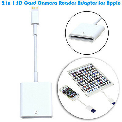 2 in 1 SD Card Camera Reader Adapter for Apple iPad Air Mini Pro iPhone 6S Plus