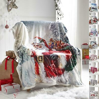 Christmas Throws Double Size For Sofa Bed Fleece Large 130 x 170 New 2 Seater