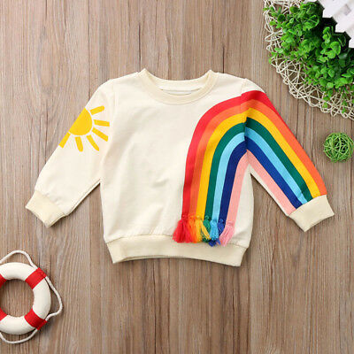 AU Baby Girls Kids Rainbow T-Shirt Clothes Blouse Sweater Sweatshirt Cardigan