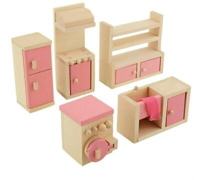 Dollhouse miniature wooden kitchen furniture set