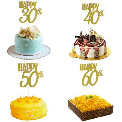 2 Pcs Happy 30/40/50/60th Cake Gold Toppers Decoration Supplies Birthday Party