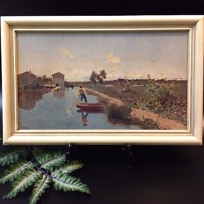 Vintage Framed Print on Board - Italian Summer Day - Guglielmo Ciardi