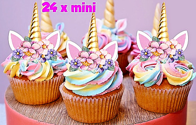 24 Mini Unicorn Horn Pink Flowers Edible Cupcake Cake Toppers Decorations  #120