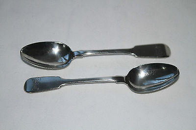 PAIR GEORGE IV SOLID SILVER TEASPOONS.BY WILLIAM THEOBALDS, LONDON 1828 46.8g