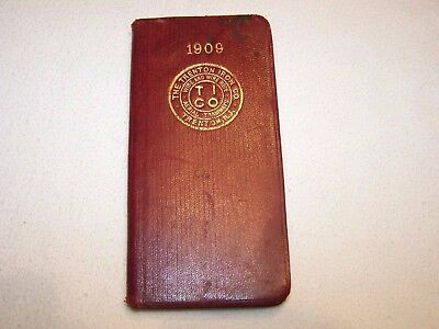 THE TRENTON IRON CO. 1909 ARMS REMINDER NO. 1 POCKET BOOK Red Vellum Collectible