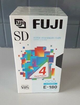 FUJI x 4 Blank VHS Tapes  E-180 Sealed
