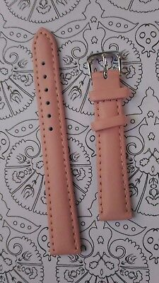BRACELET  DE MONTRE watch band  /// cuir véritable vachette rose 14mm  /// HD17