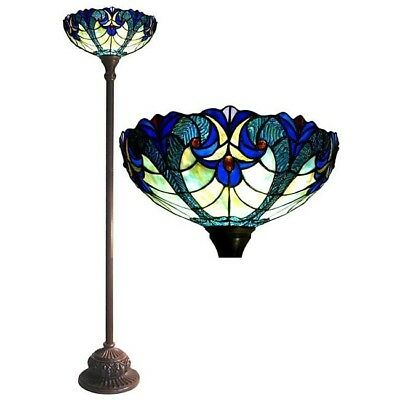 Tiffany-style Victorian Torchiere Bronze Finish Floor Lamp Stained Glass Art