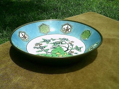 Vintage Chinese Hand Painted Bowl / Dish Brass Covered -