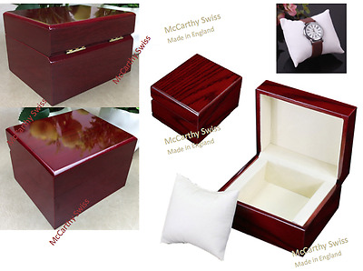 New Christmas gift Wooden Watch Box Case for 1 Wristwatch box Velour Cushion