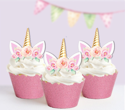 15 unicorn gold horn boho pink roses edible cupcake cake toppers fairy birthday
