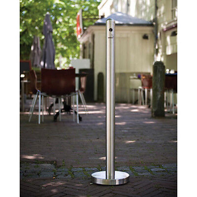 "40"" Silver Stainless Steel Outside Smoker Pole and Base Ashtray Receptacle"
