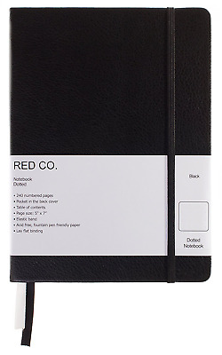 "Red Co Classic Black Hardcover Notebook Journal, 240 Pages, 5""x7""- Dotted/Points"
