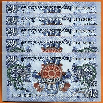 Lot 5 PCS, Bhutan 1 Ngultrum,  2013, P-27b, UNC
