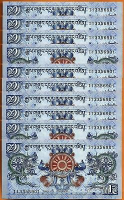 Lot 10 PCS, Bhutan 1 Ngultrum,  2013, P-27b, UNC