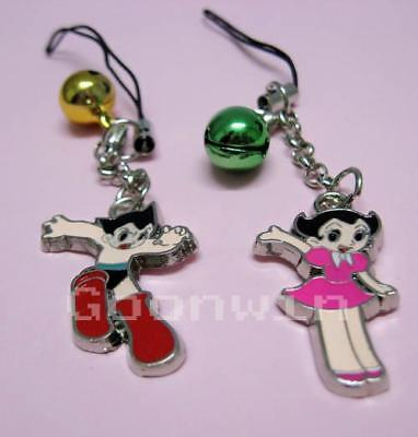 One Pair ASTRO BOY & Uran Bell Cell Phone Charm Strap Keychain