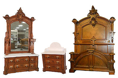 Renaissance Walnut And Burl Marble Top 3 Pc. Bedroom Set